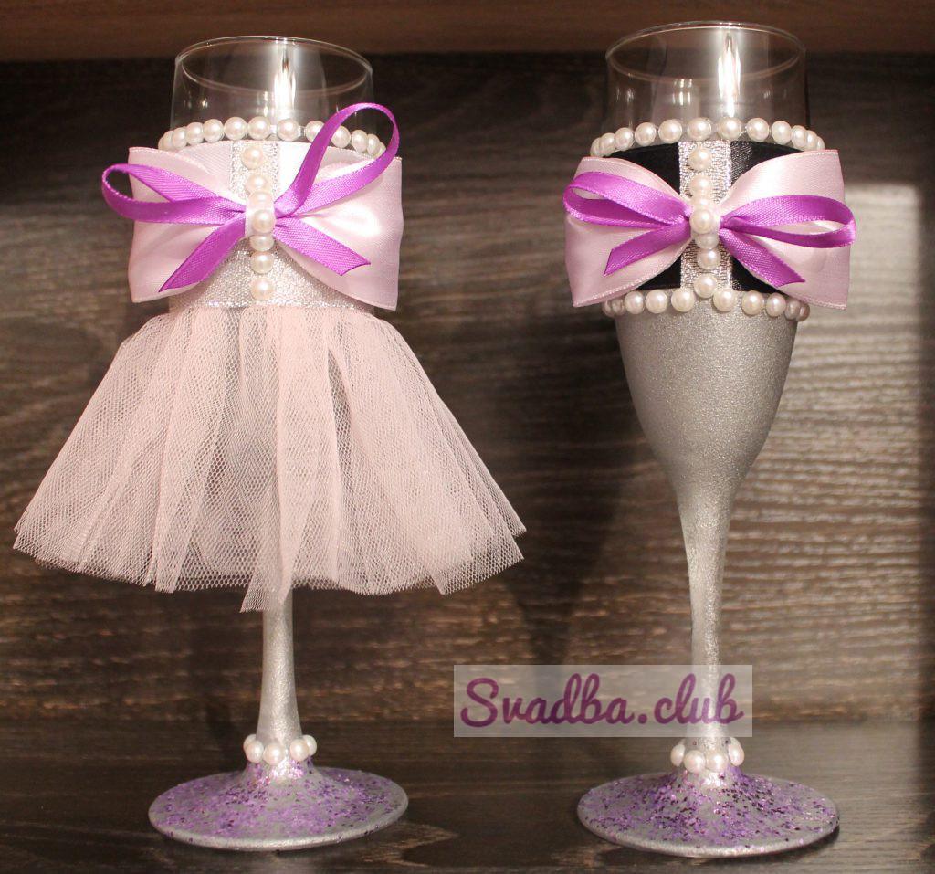 бокалы украшенные в стиле жених и невеста